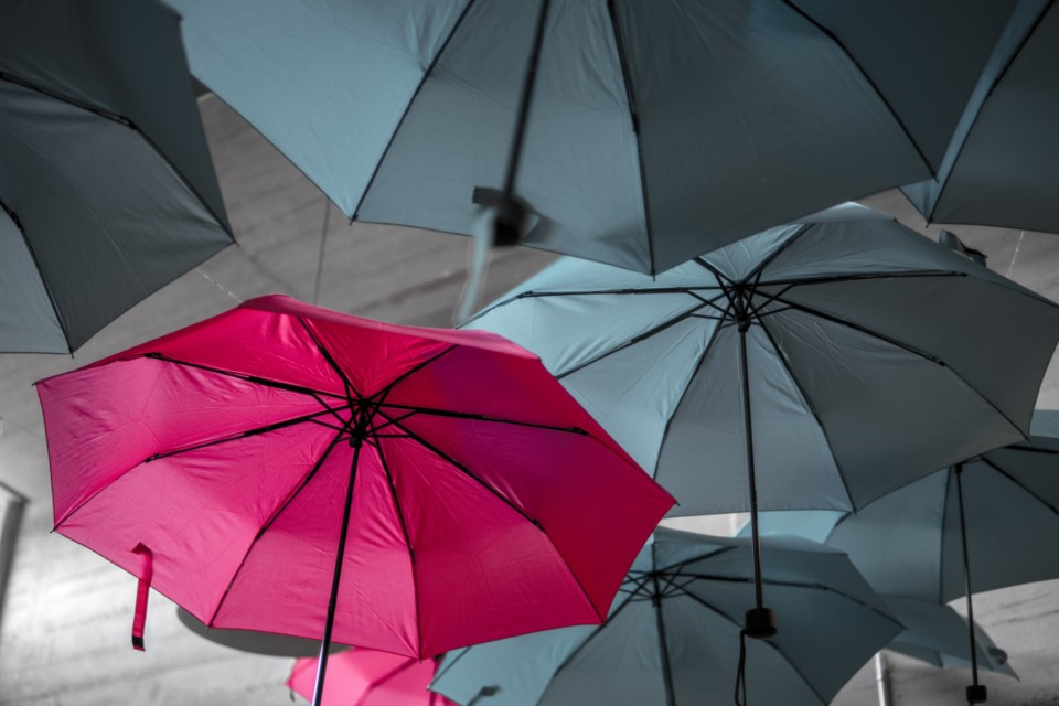 T-shaped perché è meglio averla in squadra - ombrello rosa tra altri grigi